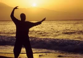 Qigong man on the beach